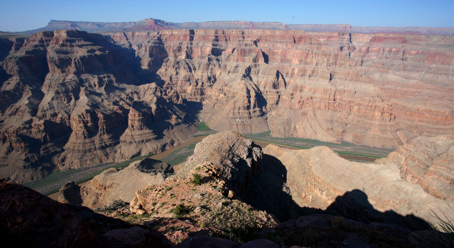 The Grand Canyon West and Colorado River seen from the canyon's edge.