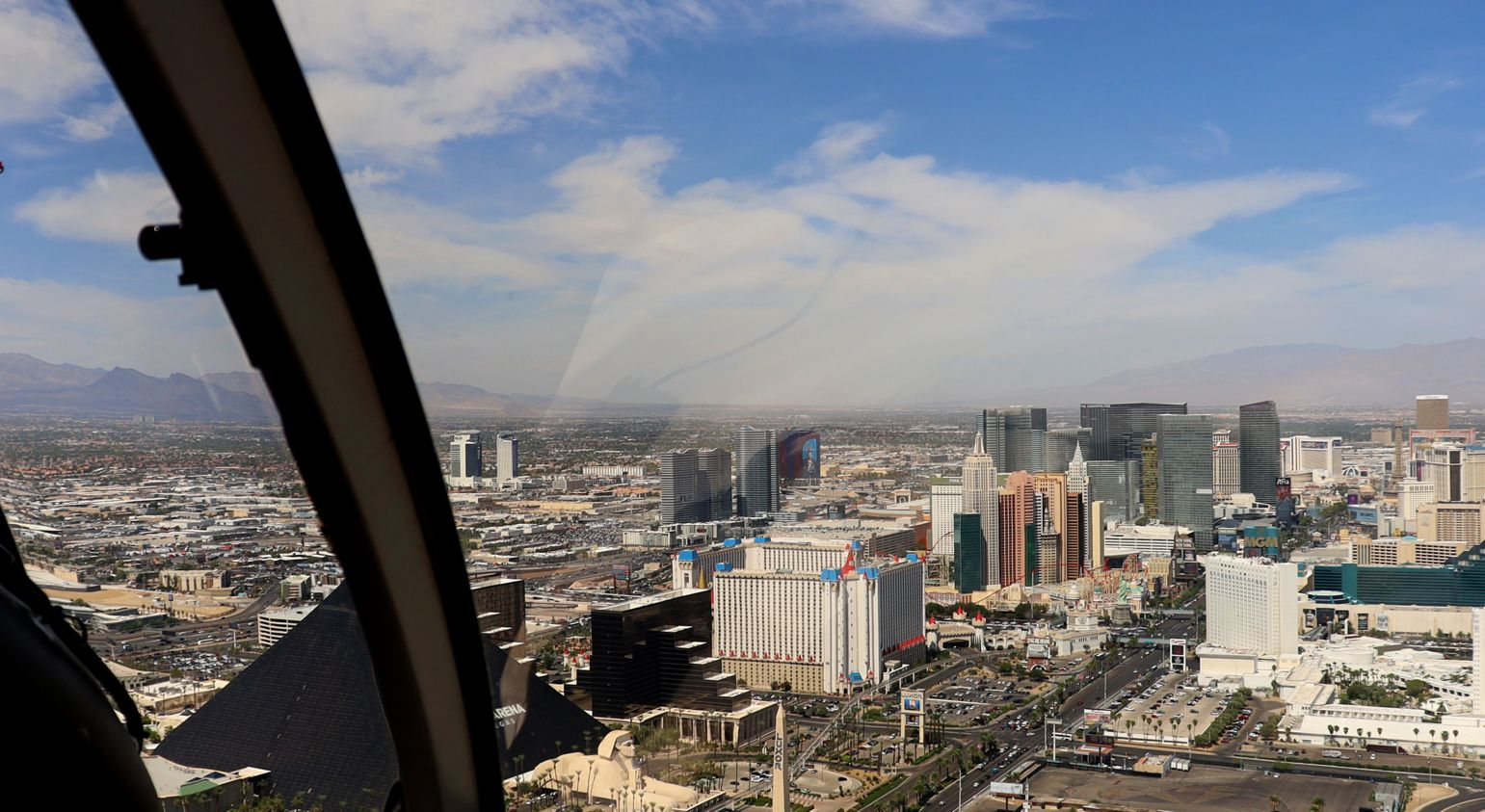 An aerial view of the Strip casinos seen from inside a Las Vegas helicopter tour.
