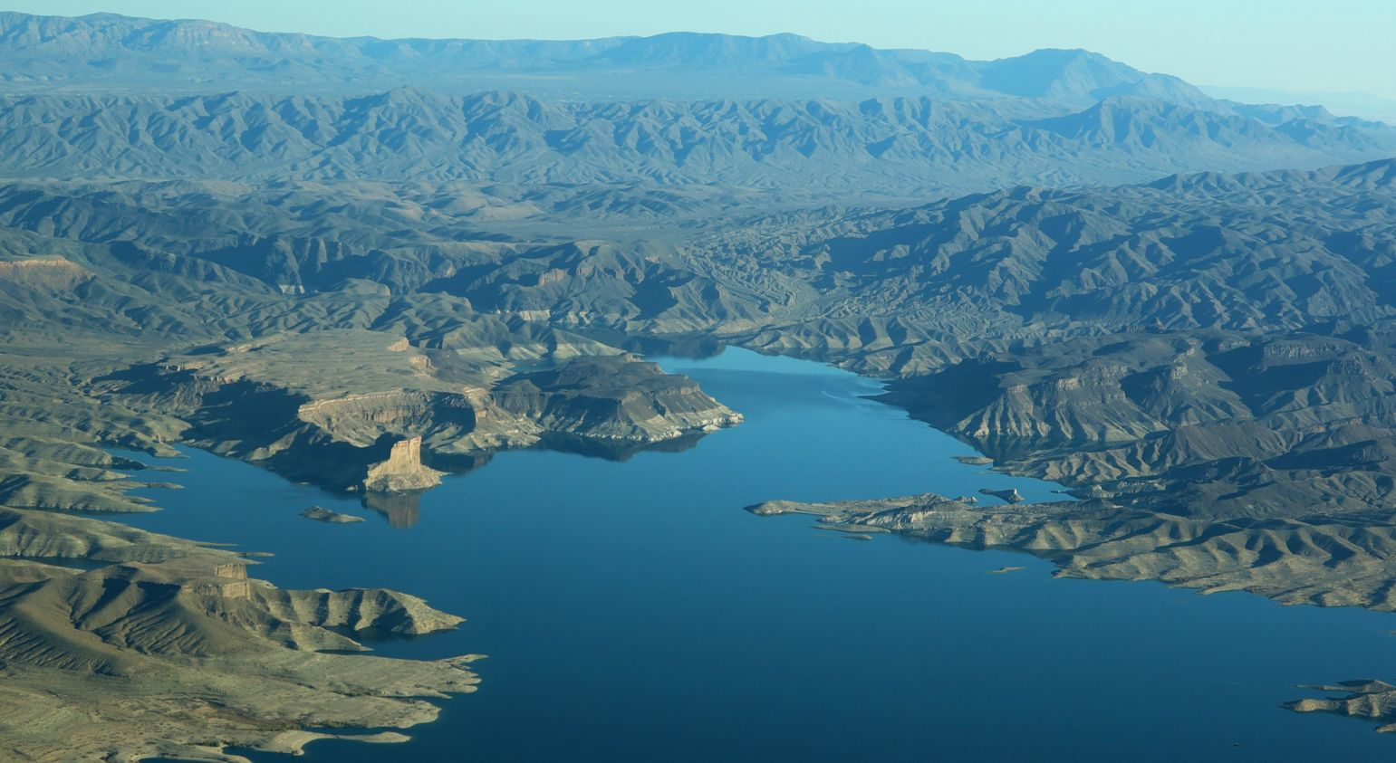 A bird's-eye view of Lake Mead and the surrounding scenery from a helicopter tour from Las Vegas.