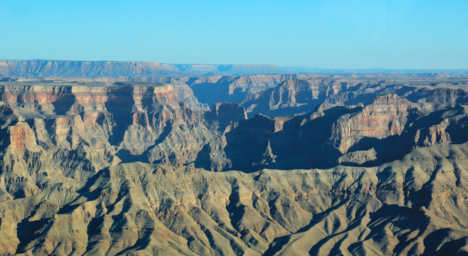 Panoramic view from a helicopter over the Grand Canyon West Rim