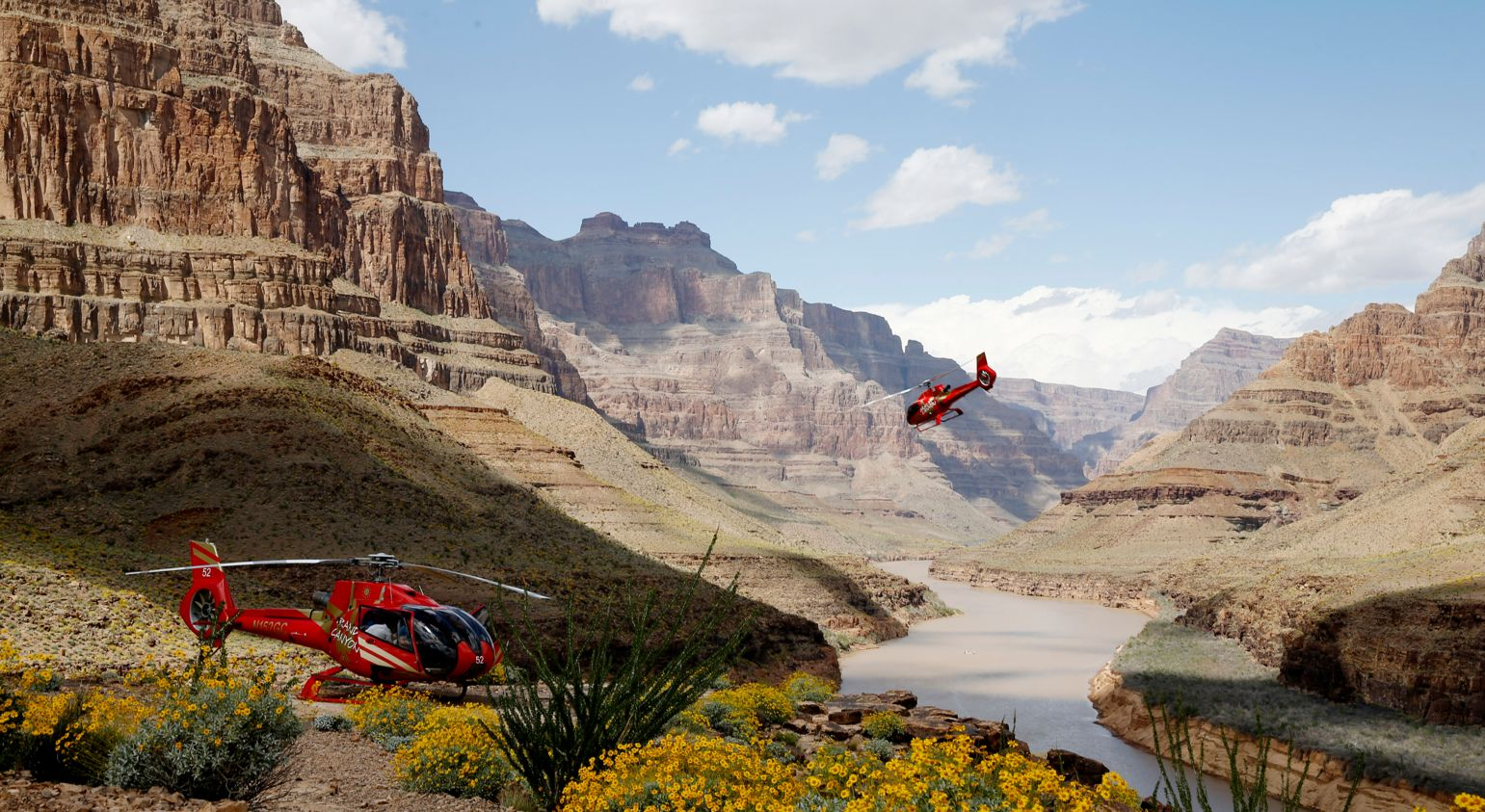 Two helicopter landings at the bottom of the Grand Canyon.