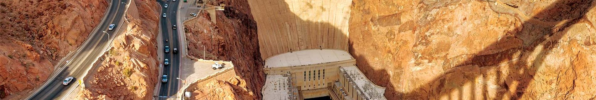 Helicopter over Hoover Dam near Las Vegas
