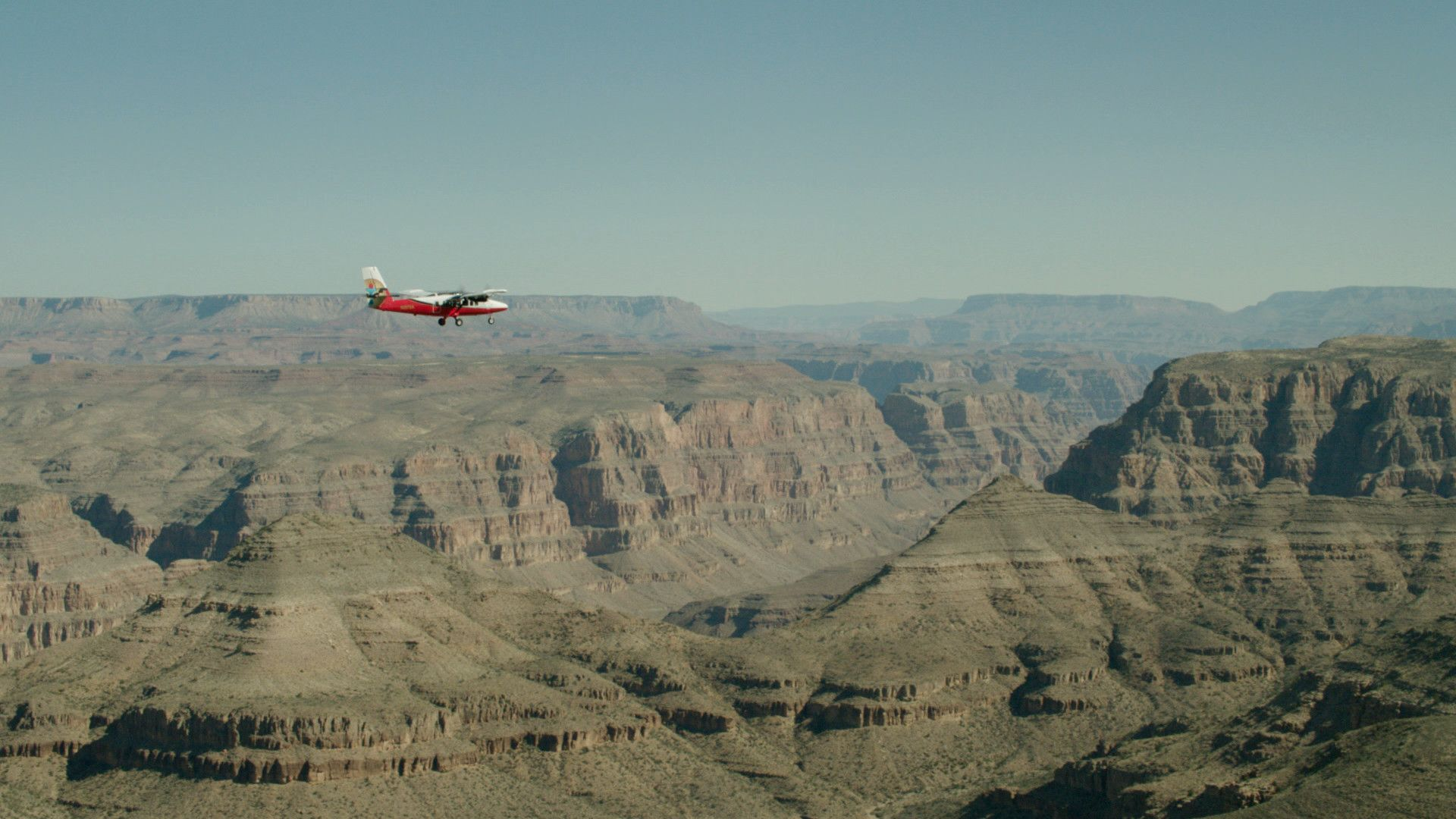 Grand Canyon air tour in progress aboard a twin-otter aircraft