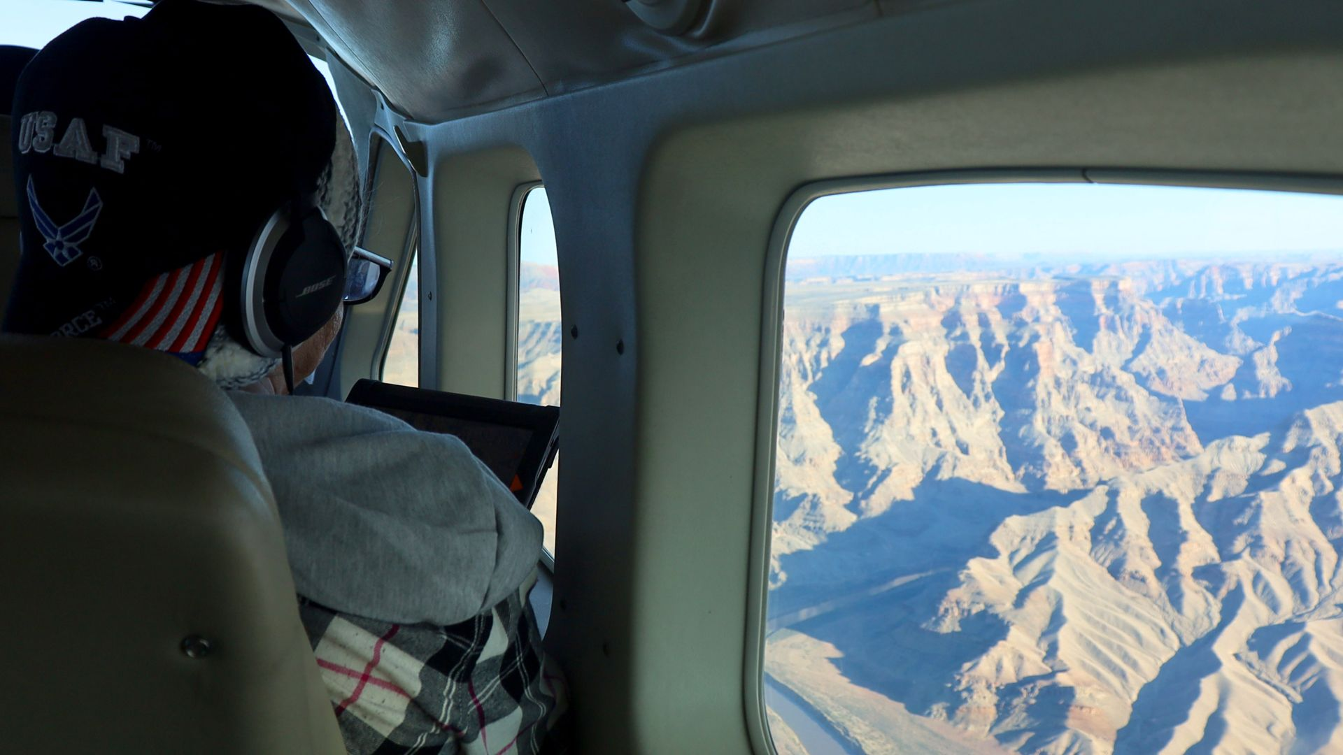 Grand Canyon from the inside of the airplane