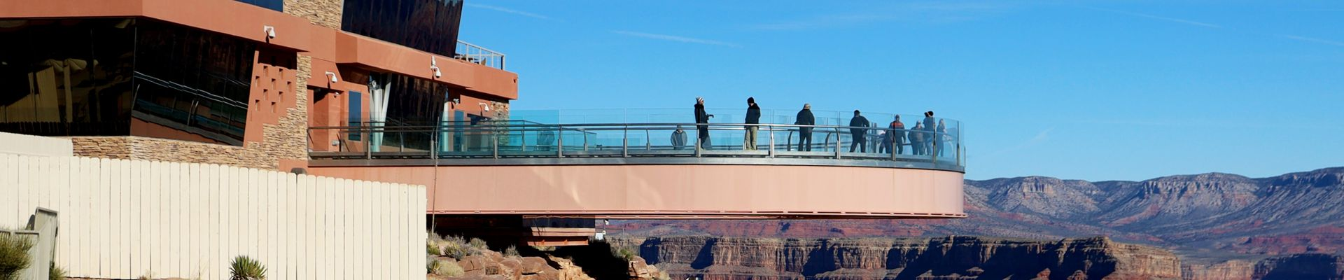 The Grand Canyon West with the Skywalk Bridge in the foreground.