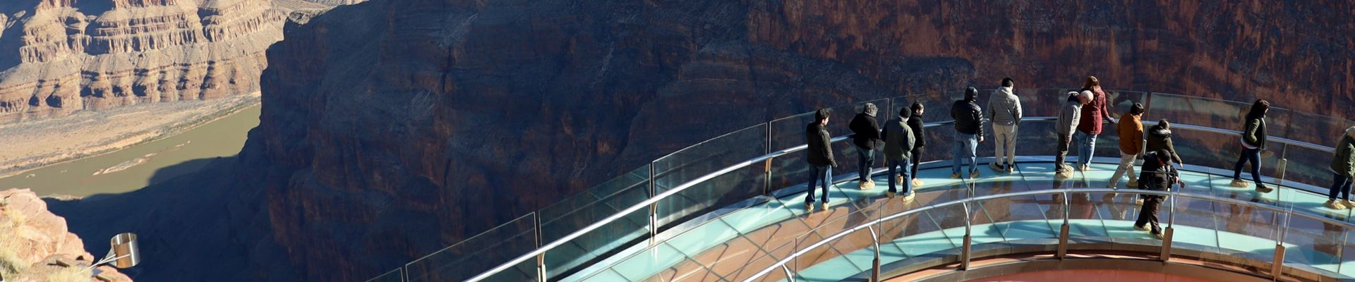 The Skywalk Bridge with the Grand Canyon West in the background.