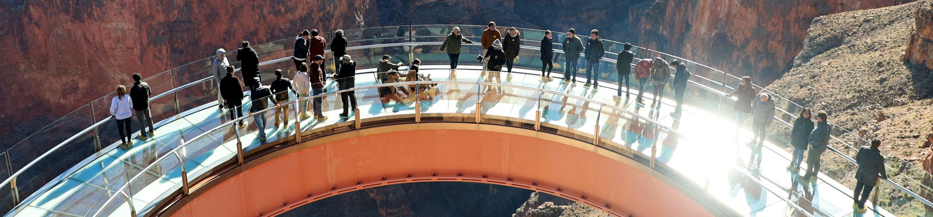 Aerial view of the Skywalk bridge from a Grand Canyon Skywalk helicopter tour
