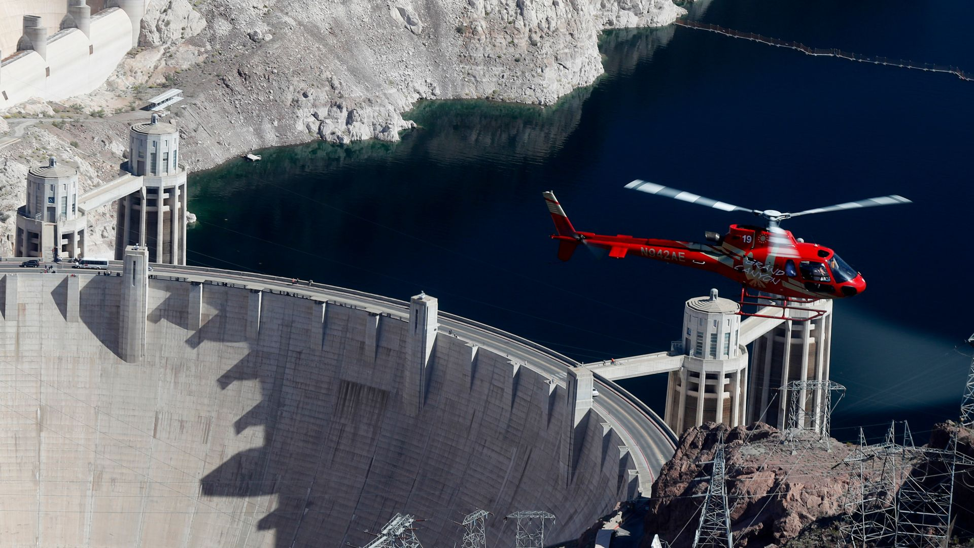 AStar helicopter over the dam