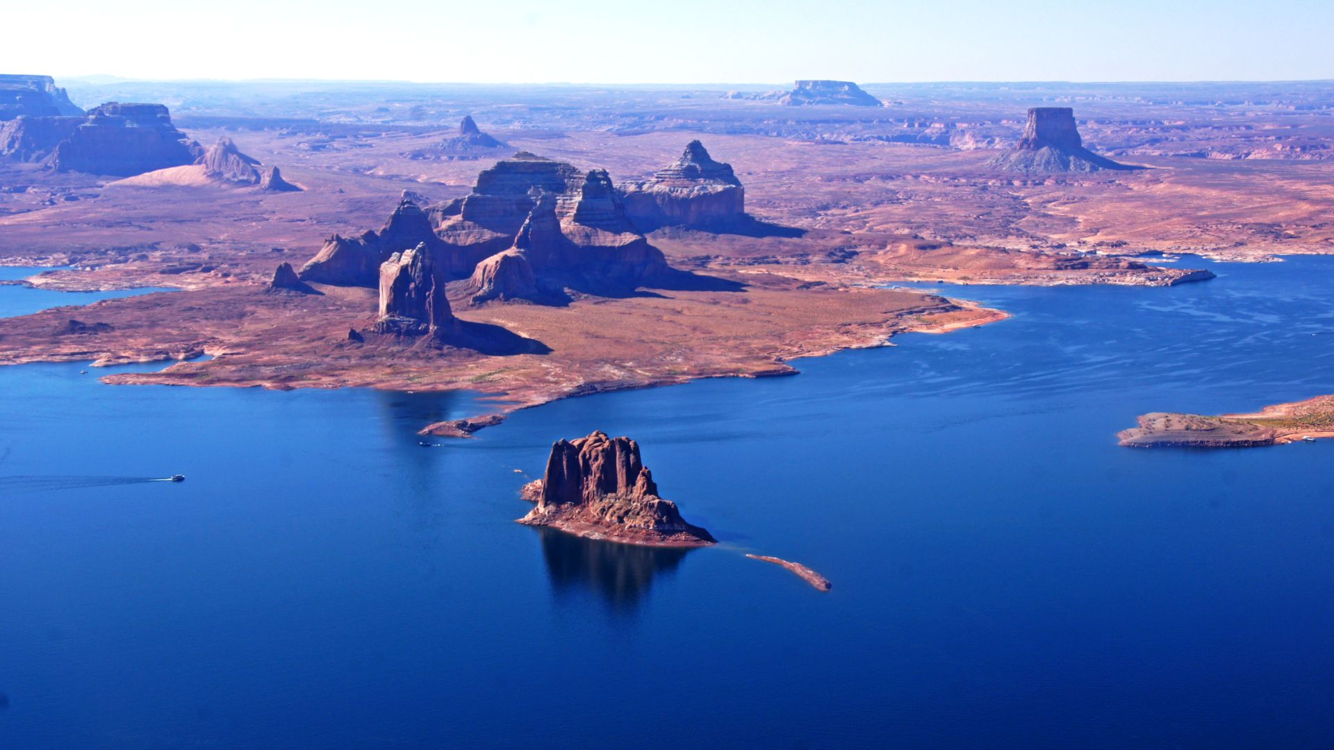 Aerial view of the red rocks of Lake Powell