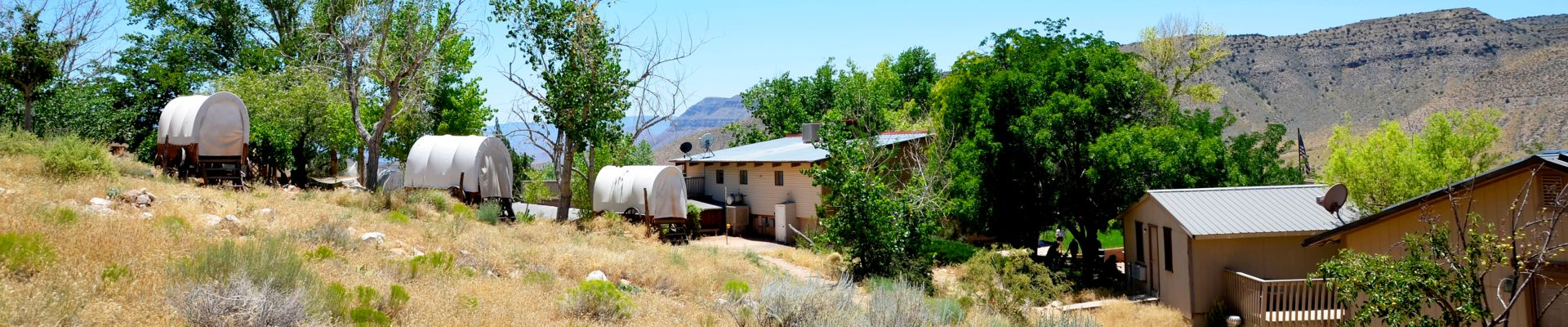 Bar 10 Ranch surrounded by desert scenery.