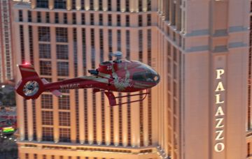 A Papillon Grand Canyon Helicopters flying over the Las Vegas Strip