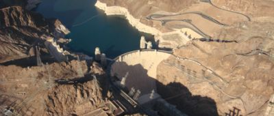 Papillon Grand Canyon Helicopter Landing Tour flying over the Hoover Dam