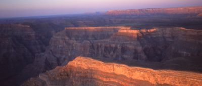 The Grand Canyon West seen from the sky at sunset.