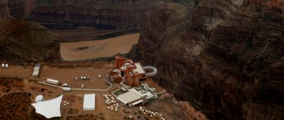 The Skywalk Bridge at the Grand Canyon West seen from the sky.