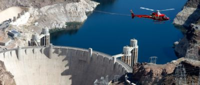 Papillon Grand Canyon Skywalk helicopter tour from las Vegas flying over the Hoover Dam