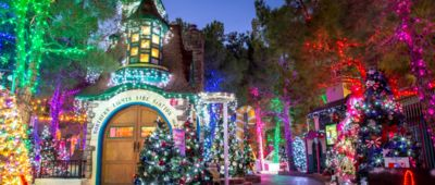 Pictured is a brightly lit entrance to a garden covered in Christmas lights.
