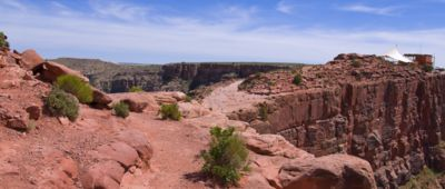 A panoramic view of a region of the Grand Canyon West during a bus tour from Las Vegas to the Grand Canyon Skywalk.