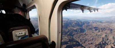 The Grand Canyon landscape seen out of the window of a Grand Canyon airplane tour.