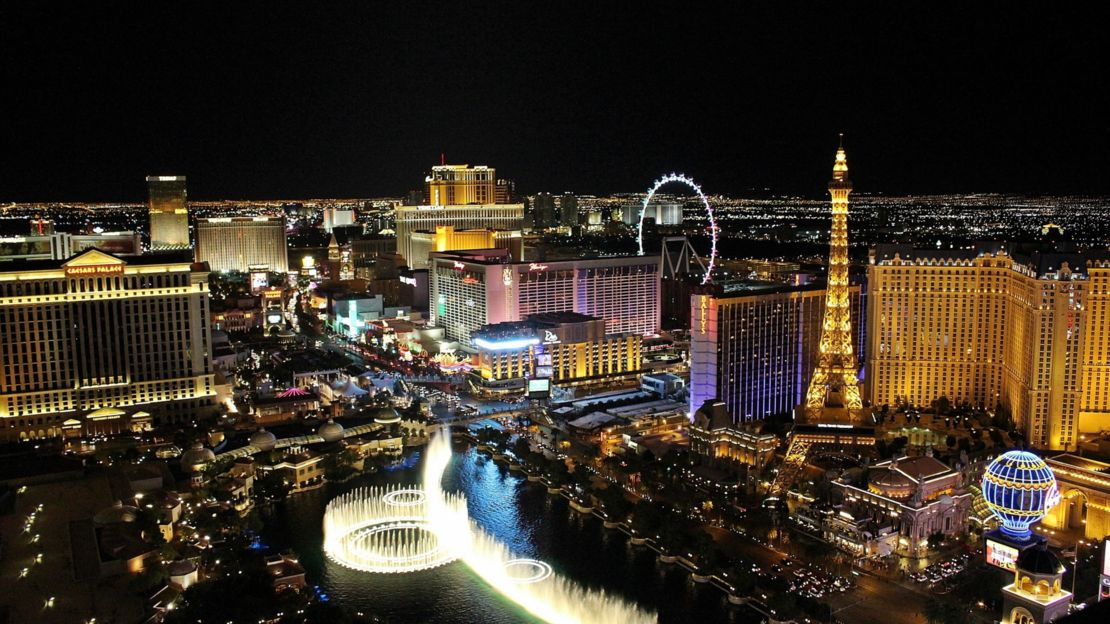 Views of Bellagio Fountains from helicopter.