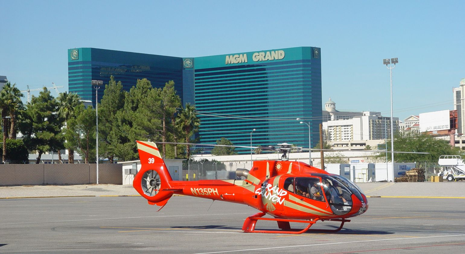 Papillon helicopter taking guests on a private Grand Canyon tour from Las Vegas