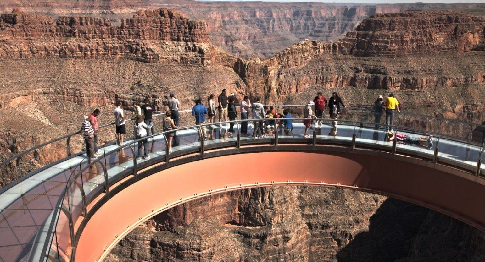 view of eagle point and the grand canyon skywalk on the west rim