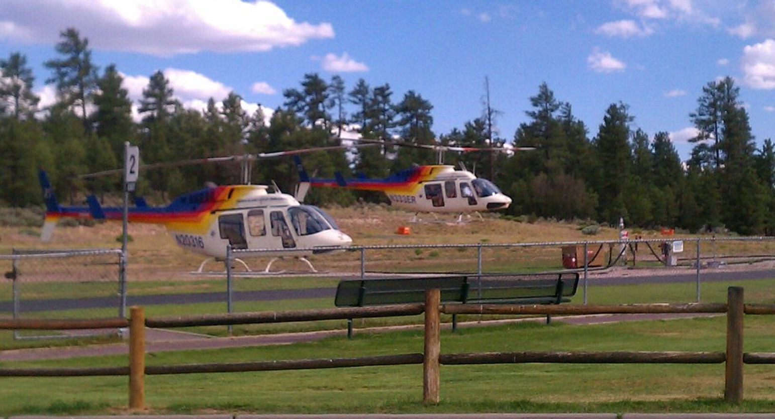Helicopter tour arriving at the National Park Helicopter terminal.