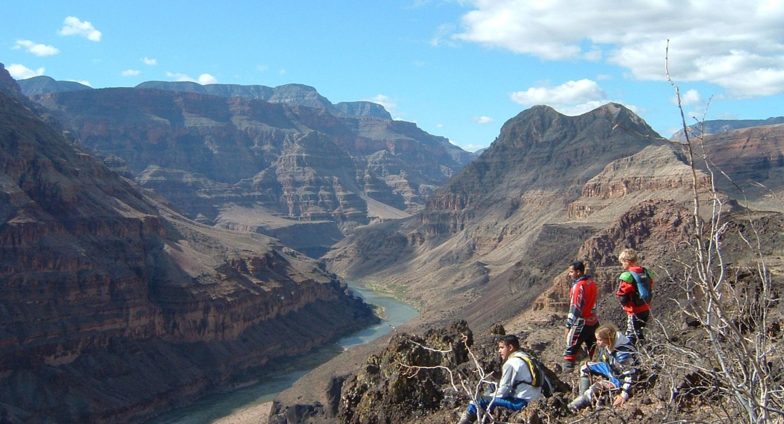 View of Grand Canyon from the bottom at Bar 10 ranch in Grand Canyon North with ATV riding guests