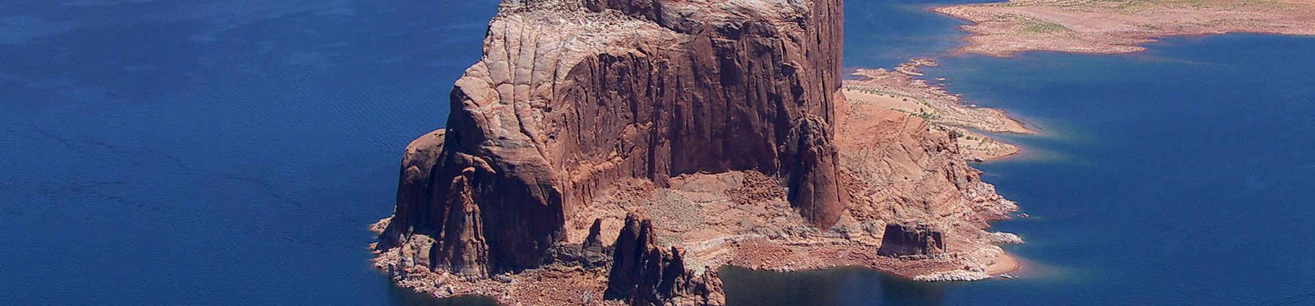Aerial view of rock formations at Lake Powell