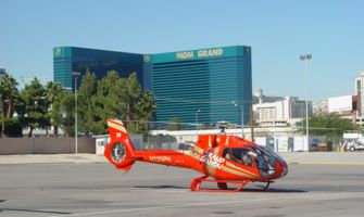 Red EC-130 at Vegas Terminal with MGM Backdrop
