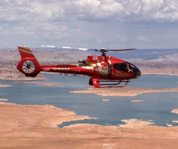A Papillon Helicopter flying above Lake Powell.