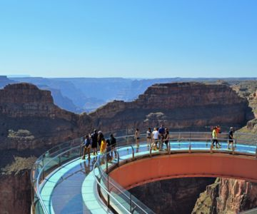 Aerial view of people walking the Grand Canyon Skywalk