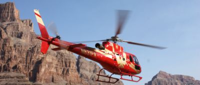 Papillon Helicopter flying during Grand Voyager Grand Canyon helicopter and boat tour from Las Vegas
