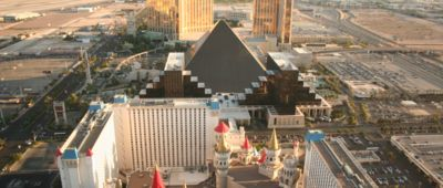 Aerial view of Strip during Papillon's Las Vegas private helicopter tours