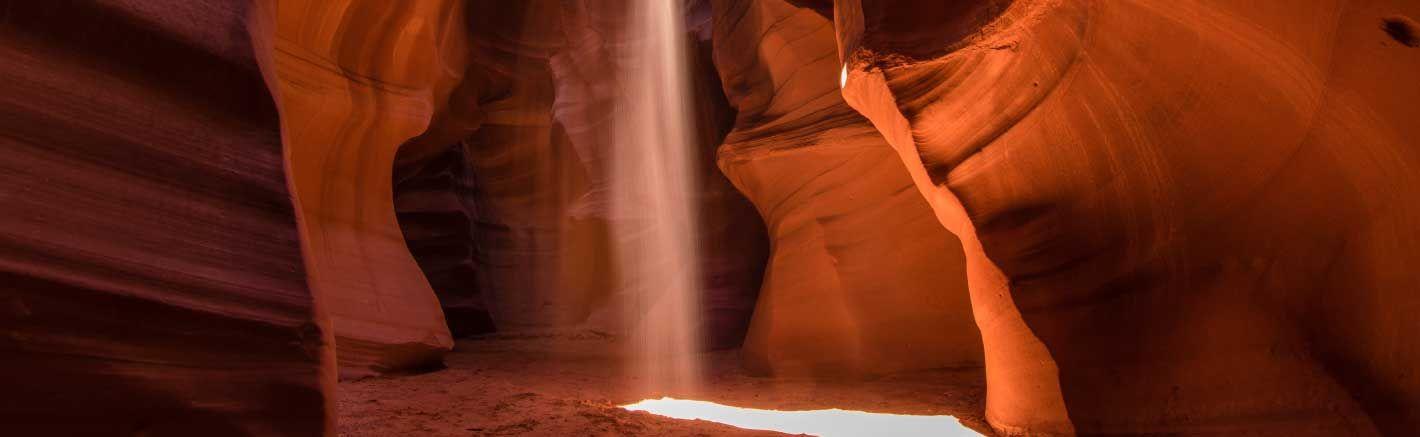 Sun beams filtering through Antelope Canyon