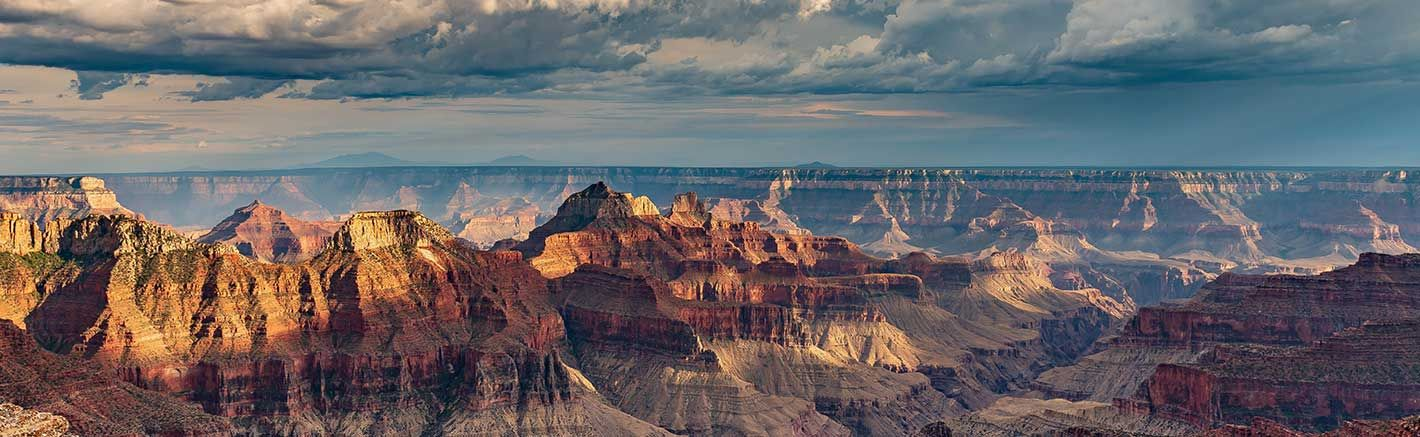 The sun setting over the Grand Canyon National Park