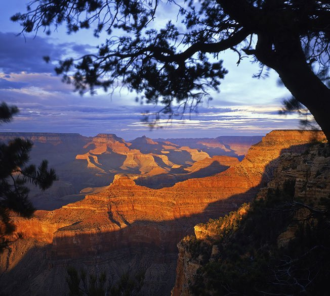A Grand Canyon viewpoint at sunset.