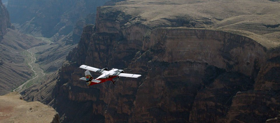 A Grand Canyon airplane tour soars over the scenery.