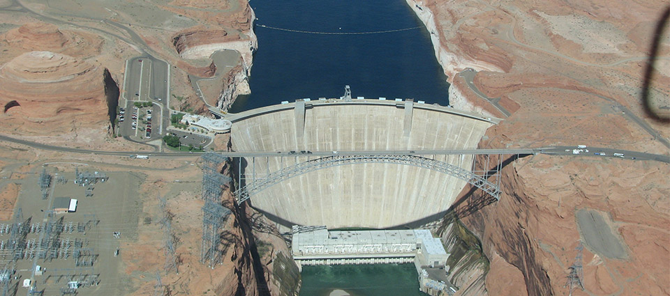 Glen Canyon Dam seen from above.