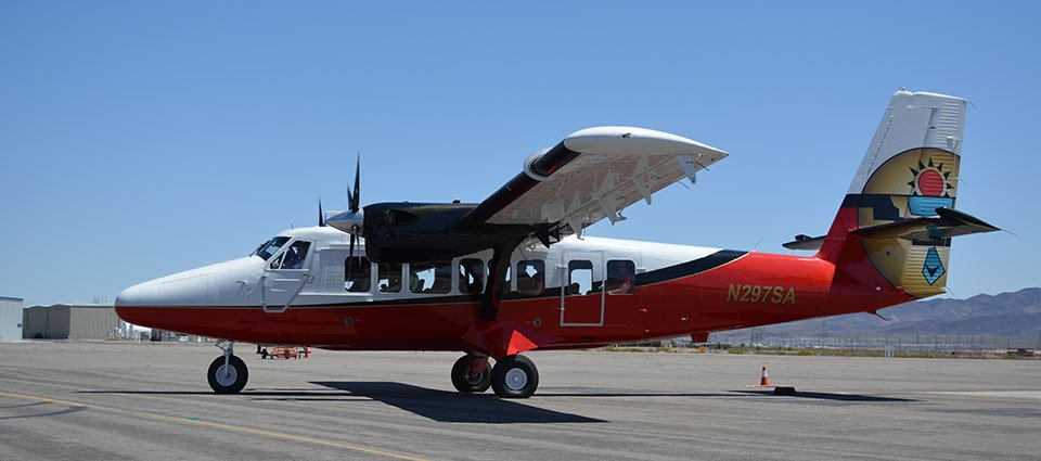 A touring airplane ready to set off on a Grand Canyon tour.