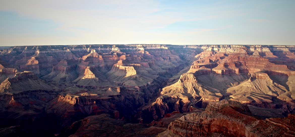 A Grand Canyon landscape illuminated by sunlight