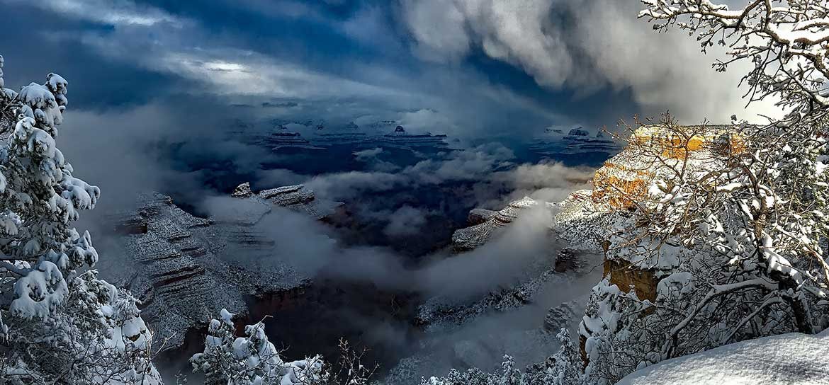 The Grand Canyon National Park covered in snow