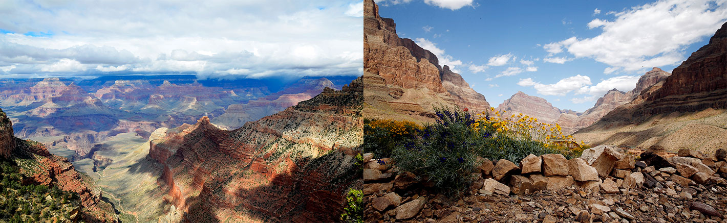Two images side by side: the Grand Canyon National Park and the floor of the Grand Canyon West.