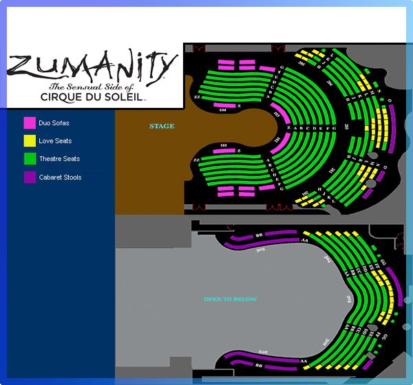 Zmanity by Cirque du Soleil Seating Map