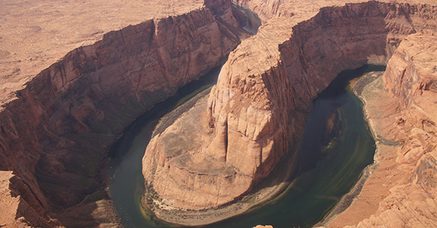Horseshoe Bend seen from the sky.