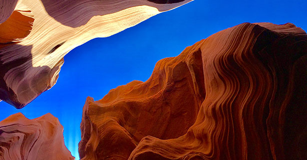 A section of the rippling wall of Antelope Canyon.