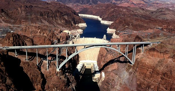 Aerial view of the Hoover Dam and the O'Callaghan-Tillman Memorial Bridge.'