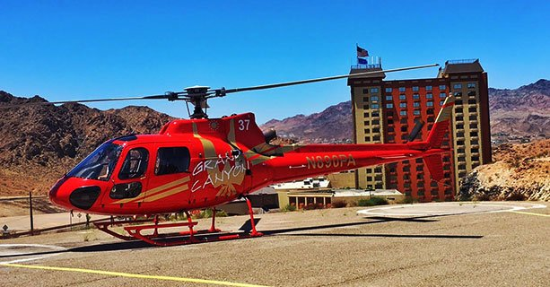 An EC-130 helicoptor landed at the Papillon Hooverdam Helliport