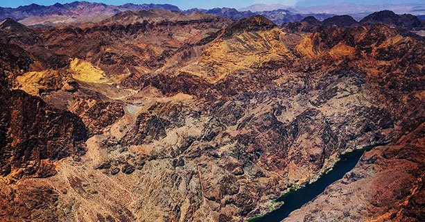 Aerial view of the Colorado River cutting through Black Canyon.