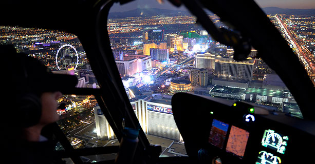Helicopter flying over vegas strip