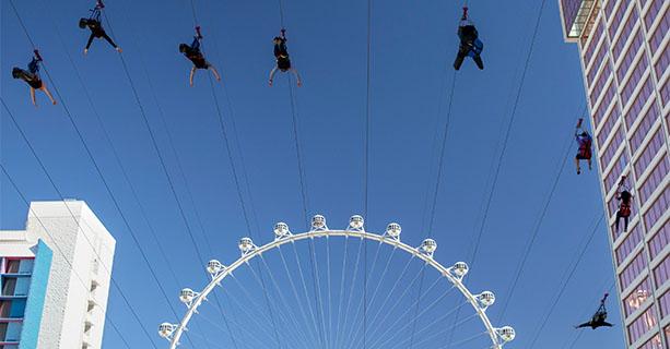 Several people ride a zipline in front of a ferris wheel.